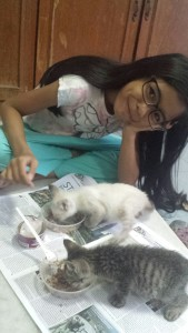Lovely Quistina and kitten orieo..